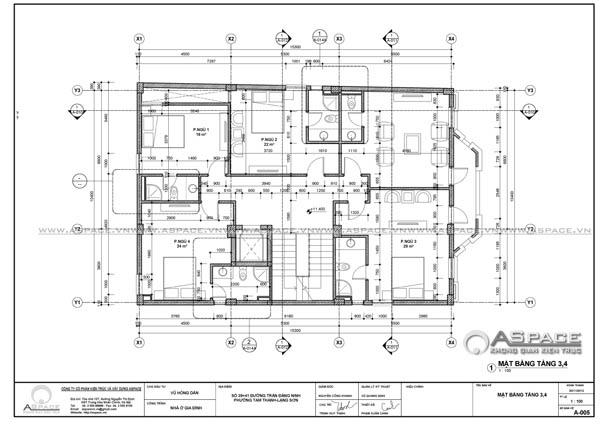 Bản thiết kế mặt bằng của Kiến trúc sư Vũ Quang Định - Kiến trúc ASPACE