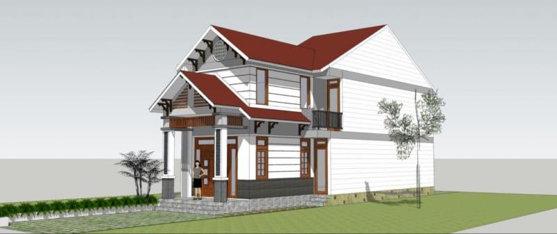 Thiết kế nhà 1 tầng rưỡi.