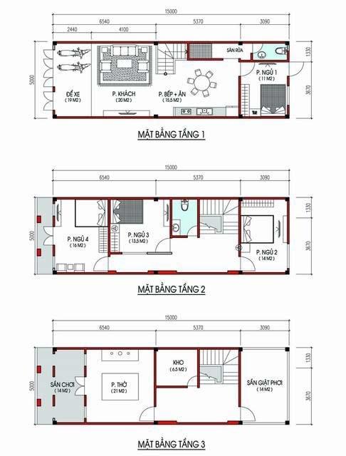 Mẫu thiết kế nhà 3 tầng 5x13m
