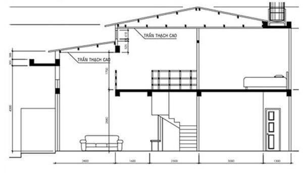 Bản vẽ mẫu nhà cấp 4 có gác lửng 4x12 mái thái