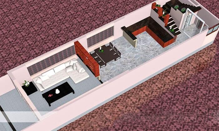 Thiết kế nhà cấp 4 4x12m cửa sập