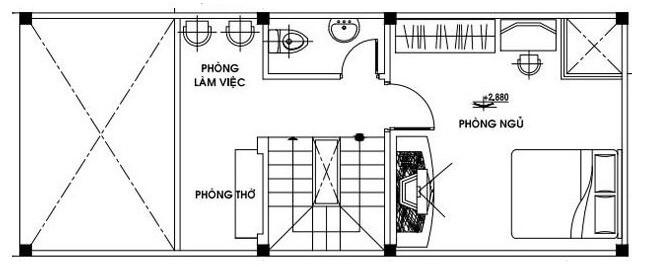 Bản vẽ tầng lửng mẫu nhà cấp 4 4x12 hiện đại