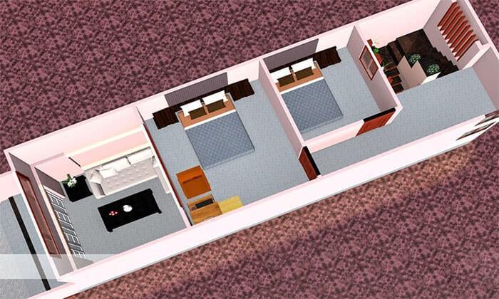 Mẫu Nhà Cấp 4 Có Gác Lửng 4x12